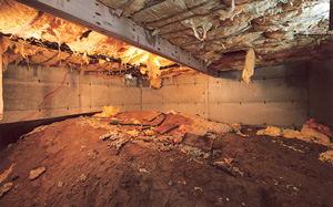 Crawl Space Moisture Barrier before in Philadelphia