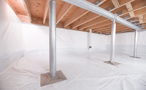 Crawl space structural support jacks installed in Chester