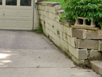 a failing retaining wall around a driveway in Philadelphia