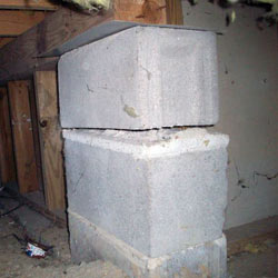 Collapsing crawl space support pillars Wilmington