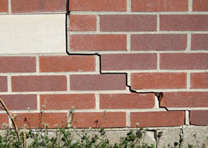 a foundation wall crack on a Wilmington home.