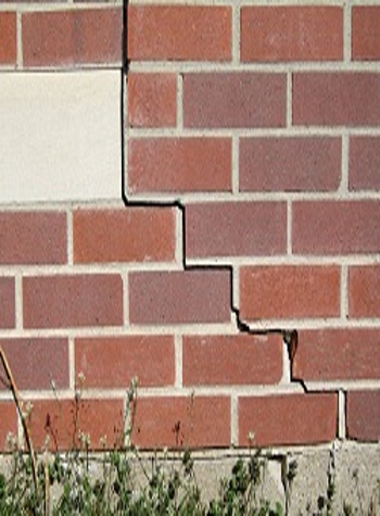 photo of a rotating foundation wall with cracks in Vineland