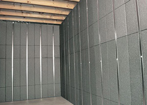 SilverGlo™ insulation and metal studs making up our Basement to Beautiful panels.  Installed in Camden.